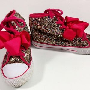 JoJo Pink Bow Sparkle High Top Canvas Shoes 3Y